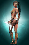 Black Amazon. Portrait of a female Amazon warrior in fantasy style Stock Image