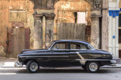 Black american car parked in Prado, Havana Stock Images