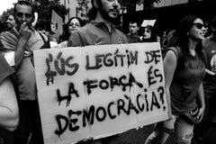 Black&White - de Protesten van Barcelona Stock Afbeelding