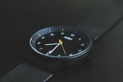 Black Analog Watch at 7:30 Stock Images