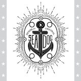Black Anchor On White. Vintage Label, Background. Typography Elements Royalty Free Stock Photos