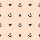 Black anchor and starfish on pink background cute lovely seamless pattern illustration Royalty Free Stock Images