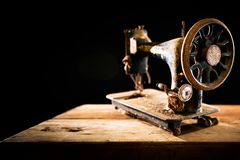 Antique rusty sewing machine stock images