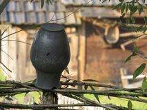 Black Ancient Vase on Fence surrounding Old Historical Wooden Building House from Middle Ages. Black Ancient Vase on Fence surrounding Old Historical Wooden stock photography