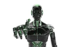 Free Black And Green Intelligent Robot Cyborg Pointing Finger On White 3D Rendering Stock Photo - 188131950