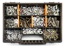 Free Black And Orange Box Organizer For The Screws, Dowels, Self-tapping Screws And Washers Royalty Free Stock Photography - 56530757
