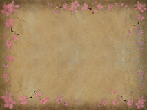 Black And Pink Floral Print On Aged Background Stock Photo