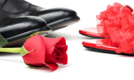 Black And Red Shoes And Rose Stock Photo
