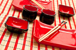 Black And Red Sushi Set Royalty Free Stock Photography