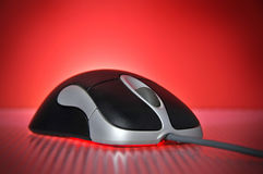 Free Black And Silver Wired Optical Computer Mouse Royalty Free Stock Image - 6441686