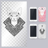 Black And White Animal Cat Head. Vector Illustration For Phone Case. Royalty Free Stock Photo