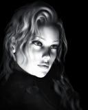 Black And White Beautiful Woman Illustration Stock Photography