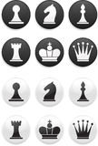 Black And White Chess Set On Round Buttons Stock Images