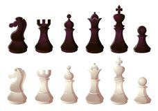 Free Black And White Chess Set. Raster Illustration In Flat Cartoon Style Stock Photography - 157427042