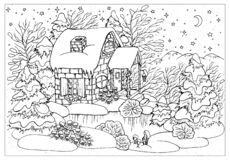 Black And White Christmas And New Year Greeting Card With Vintage Cottage House, Decorations, Lake, Conifer, Trees And Forest Royalty Free Stock Photography