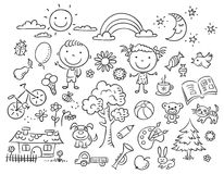 Black And White Doodle Set Stock Photo