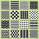 Black And White Geometrical Seamless Patterns Set Royalty Free Stock Photography