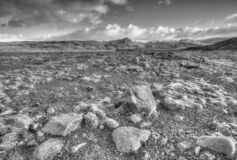 Free Black And White Lunar Landscape In Southern Iceland Stock Photo - 171141000