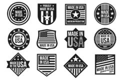 Free Black And White Made In USA Badges, Banners And Labels Vector Isolated On White Background Stock Images - 147936384