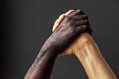 Free Black And White Male Hands.The Concept Of Equality And The Fight Against Racism Royalty Free Stock Photos - 214563098