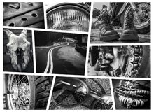 Free Black-and-white Motorcycle-themed Collage Featuring A Motorcycle, A Skull, A Motorcycle`s Headlights And Wheels, And Accessories Stock Images - 181922744