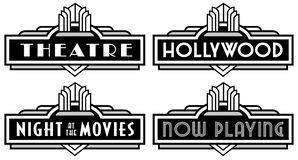 Free Black And White Movie Marquee Hollywood Theater Theatre Now Playing Vector Stock Images - 163141574