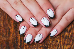 Free Black And White Nail Art On Wooden Background Royalty Free Stock Images - 59883629