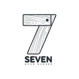Black And White Number Seven Logo Formed By Wheat Ear Stock Image