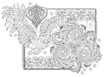 Free Black And White Page For Kids Coloring Book. Fantasy Illustration Of Ancient Celtic Ornament With Trickle Symbol And Flying Owl. Stock Images - 200697244