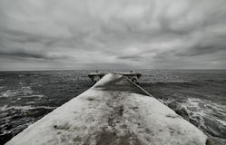 Black And White Photo Of Winter Pier Stock Photography