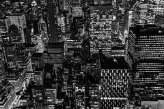 Black And White Picture Of Manhattan, NYC, At Night Stock Images