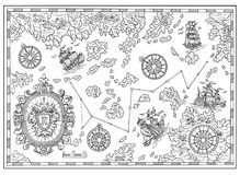 Free Black And White Pirate Treasure Map With Nautical Decorative Elements Stock Photos - 108347823