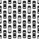 Black And White Police Cars Seamless Pattern Stock Photo