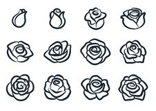 Free Black And White Rose Flower Vector Illustration. Simple Rose Blossom Icon Set. Nature, Gardening, Love, Valentine`s Day Theme Stock Photo - 138120320