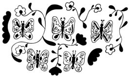 Black And White Set Of 5 Abstract Butterflies With Patterns Inside, 4 Unusual Flowers And 2 Wavy Shapes. Isolated Hand-drawn Desig Stock Photography
