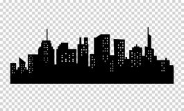 Free Black And White Sihouette Of Big City Skyline. Stock Photos - 76242963