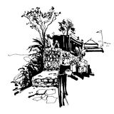Black And White Sketch Drawing Of Budva Montenegro Fortress View Royalty Free Stock Images