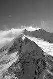 Black And White View On High Winter Mountains In Snow Stock Image