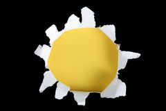 Black And Yellow Torn Out Hole Royalty Free Stock Image