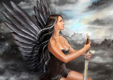 Fantasy Black angel. Beautiful black angel with big wings also we throw. Digital painting royalty free illustration