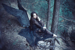 Black angel in the forest royalty free stock photos