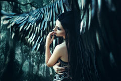 Black Angel. Pretty girl-demon. With black wings. An image for Halloween. Image of an old book of fairy tales. Fashionable toning Stock Image