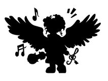 Black angel with violin Royalty Free Stock Image