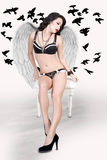 Black Angel, White Wings Royalty Free Stock Photo