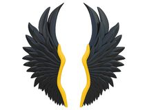 Black angel wings isolated on a white background 3d rendering. With gold details Stock Photos