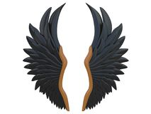 Black angel wings isolated on a white background 3d rendering. With wood details Stock Images