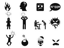 Black angry icons set. Isolated black angry icons set on white background Royalty Free Stock Photography