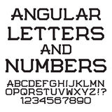 Black angular letters and numbers. Stylish font.  latin. Alphabet with figures Stock Images