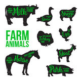 Black animal circuit with product inscription. Black contour farm animals with a green inscription inside, vector set of different animals, cattle, poultry Royalty Free Stock Photography