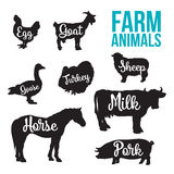 Black animal circuit with product inscription. Black contour farm animals with a white inscription inside, vector set of different animals, cattle, poultry Royalty Free Stock Image